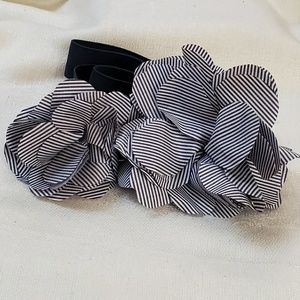 LOFT Blue Stripe Flower Stretch Belt M #1328